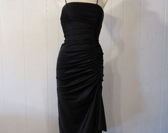 Vintage dress, 1970s dress, Disco dress, black dress, vintage clothing, small