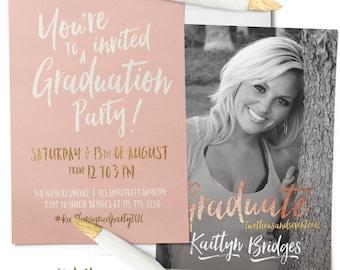 Rose Gold Graduation Announcement & Graduation Party Invitation, Photo Graduation Invitation, Printable or Printed. Pink, Blush, Modern