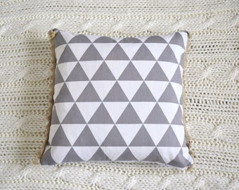 White and gray Pillow Cover with tassels 18x18