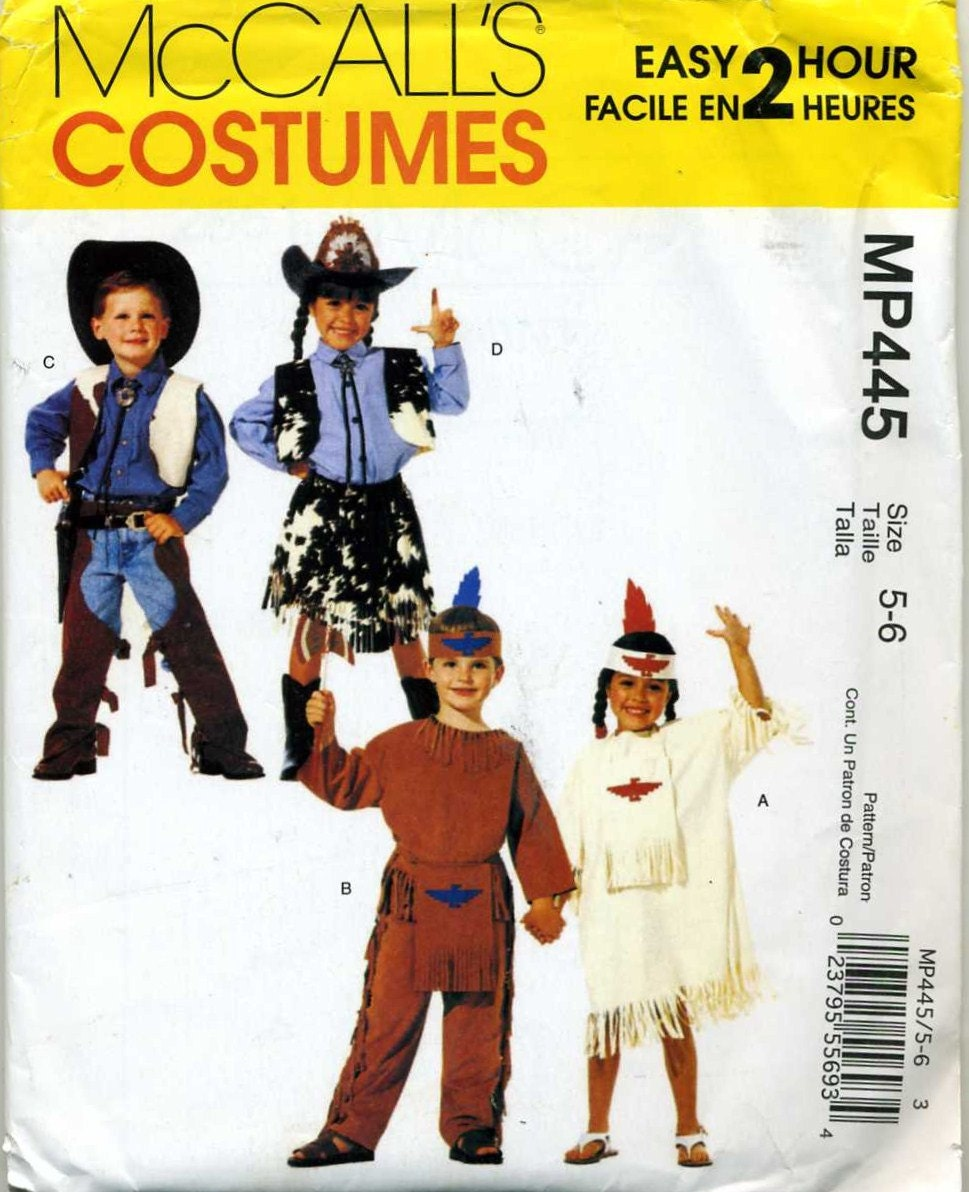 Childs Indian, Cowboy and Cowgirl Halloween Costume Sewing Pattern ...