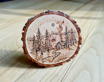 Cabin in the Forest on Hickory Wood Slice