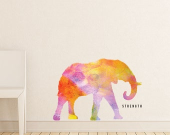 "Elephant - ""Strength"" Watercolor Wall Decal"