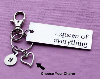 Personalized Queen Key Chain Queen Of Everything Stainless Steel Customized with Your Charm & Initial - K523