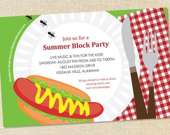 Sweet Wishes Summer BBQ Block Party Invitations - PRINTED - Digital File Also Available