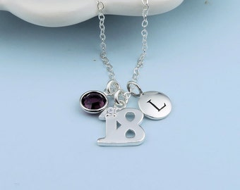 Personalized 18th Birthday Necklace, initial, custom birthstone crystal, sterling silver, happy birthday gift