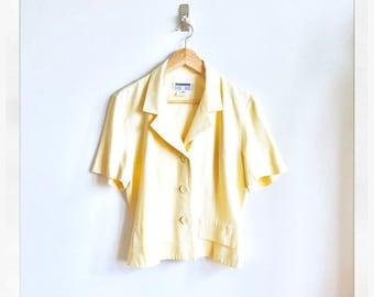 Banana Cream Vintage Jacket / Pastel Buttercream Summer Blazer / Drapey Vintage Button Front Jacket