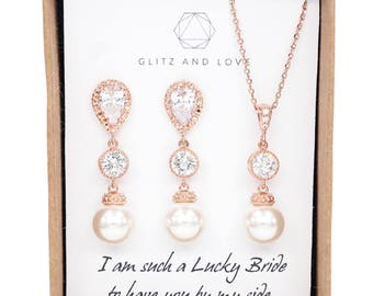 Rose Gold Bridal Earrings, Bridesmaid Earrings Necklace Jewelry set, Swarovski pearl Wedding Bridal Jewelry Set, brides - Charlotte