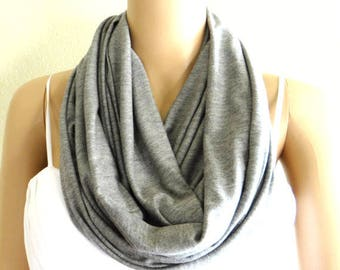 Grey Infinity Scarf. Loop Scarf. Soft Cotton Scarf.