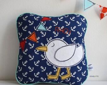 kids room pillow, bird pillow baby pillow, kids pillows, gulls seagull pillow, pillow