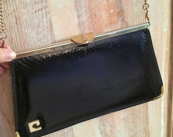 Small black snake leather snake pouch