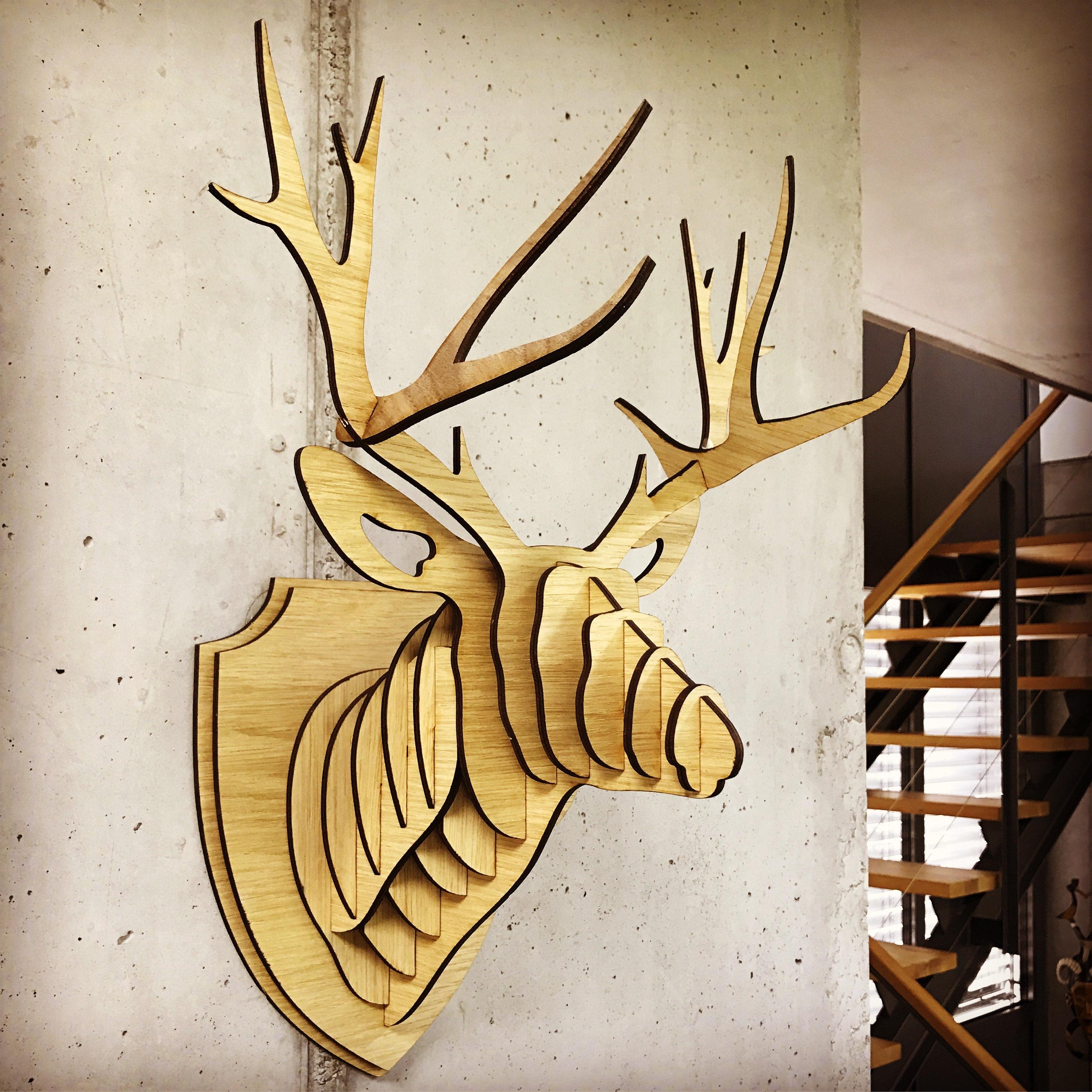 Wall trophy Deer antler made of wood
