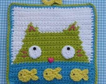 Dinnertime Potholder Crochet PATTERN - INSTANT DOWNLOAD