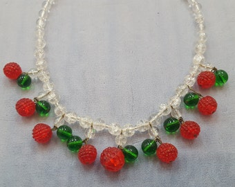 Whimsical Vintage Glass Raspberries Necklace 16""