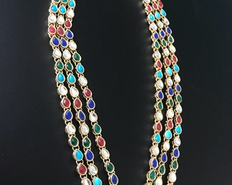 NEW ARRIVAL!  Multicolor Long Kundan Mala Necklace, Indian Wedding- Bridal Jewelry