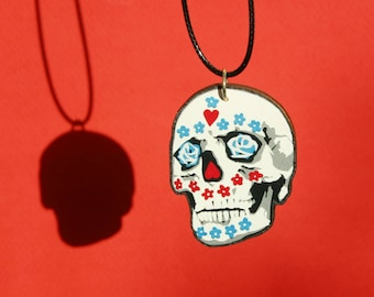 Day of the Dead Necklace - Sugar Skull Wooden Laser Cut Necklace - Dia De Los Muertos Jewellery - Male Sugar Skull Pendant - Flower Skull