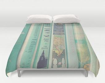 Mint Book Comforter or Duvet Cover: Home decor, bedding, green, books, blanket, librarian, library, hipster