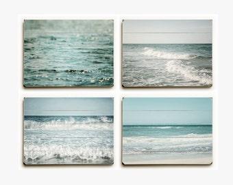 Wood Plank Sign Set: Beach Set of 4 Wood Planks, Beach Decor Wood Set, Beach Wall Art, Blue Beach Art, Teal Ocean Decor, Beach Print.