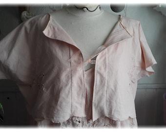 jacket, shabby old linen embroidered, powder pink Bohemian salmon organza Ribbon