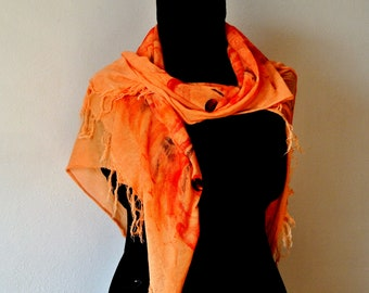 Hand-painted viscose and cotton scarf. Abstract design. For those wearing dark clothes. Suitable for a birthday present.