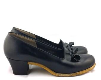 J&J Slater Vintage Leather High Heel Shoes antique Black pumps JJ Slater Runarounds