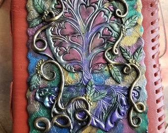 Earthshadow - Medieval journal, polymer clay journal, custom journal, custom sketchbook, custom notebook, unique gift, Tree of Life, Celtic