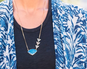 Arrows -- opal gemstone arrow and brass triangles necklace, minimalist, geometric, layering pendant