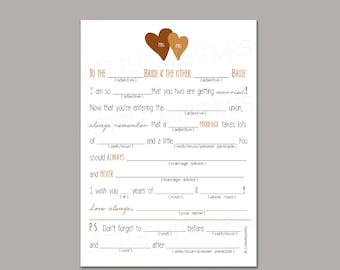 Same-sex couple Mad-lib Wedding Advice cards for the Brides-to-Be - brown/gold and navy/turquoise