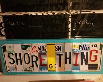 License Plate Sign License Plate letter Art Picture Home Deco SHORE THING License Plate Letter Sign License Plate Art