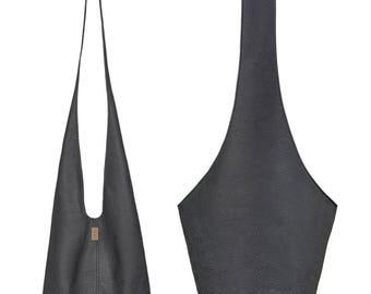 Black vegan leather bag Boho bag vegan gift for her Sling bag Black hippie bag Vegan crossbody bag Hobo purse Wholesale boho Handmade bags