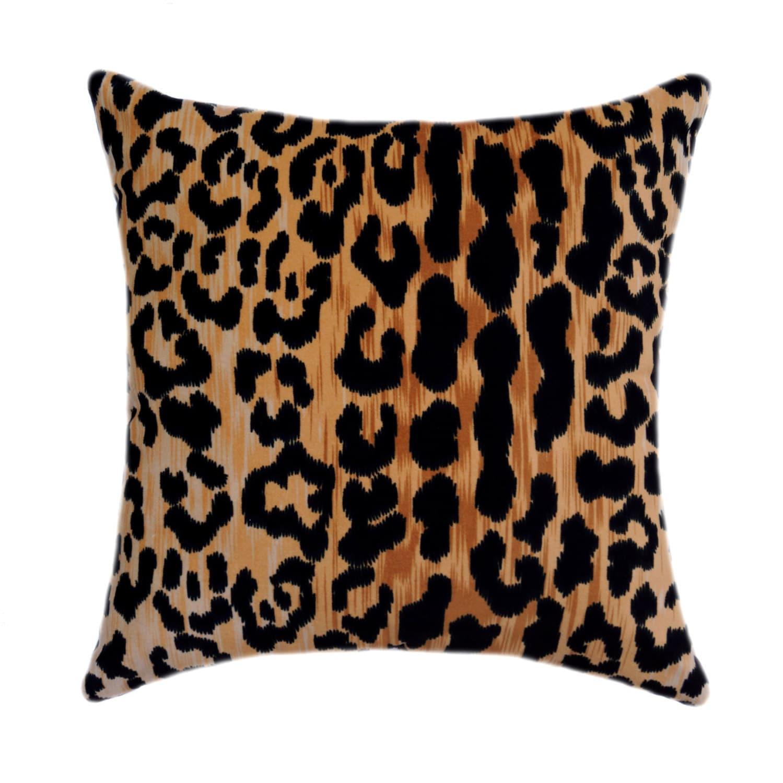 Leopard STUFFED Throw Pillow Braemore Jamil Natural Cotton