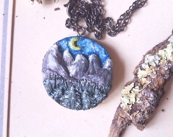 Miniature Art Painting, Landscape Necklace, Wearable Art, Hiking Gift, Wood Art, Gifts for Her