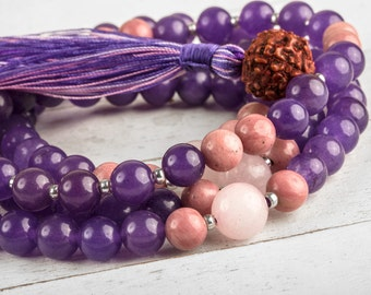 Amethyst Rose Quartz Buddhist Prayer Beads - Mala Beads, Buddhist Rosary, Tibetan Prayer Beads, Healing Gemstones Malas, Yoga Mala Beads
