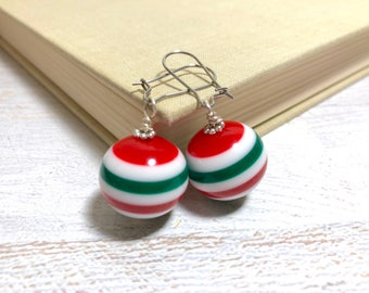 Huge Red Green and White Striped Chunky Ball Earrings for Christmas, Surgical Steel