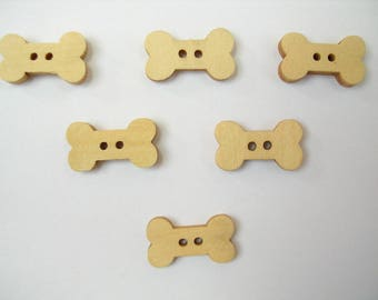 SET of 6 wood buttons: bone dog 17mm