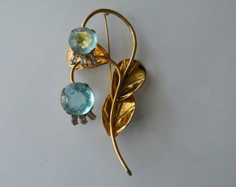 Gold over Sterling silver flower floral brooch pin Blue clear rhinestone