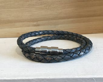 Braided leather bracelet with stainless steel magnetic lock