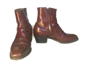 Vintage Leather Ankle Boots Zip Up Beatle Boots Stacked Heel 8.5 Bohemian Rocker Boots Brown Leather Oxblood Leather