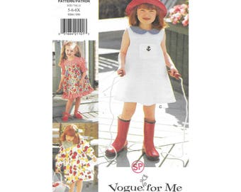 Girls Sleeveless Short Long Sleeve Dress 5 to 6X Sewing Pattern Vogue for Me 9204 Vintage