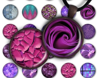 75% OFF SALE Digital Collage Sheet Purple Fantasy 1inch Round 25mm Circle Pendant Printable Download PC030 Instant Download Jewelry Making