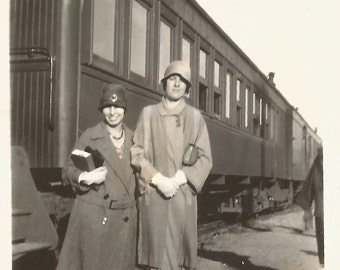 """Vintage Photo """"The Send-Off"""" Railroad Station Flappers Steam Train Ride Cloche Hat Found Vernacular Photo"""