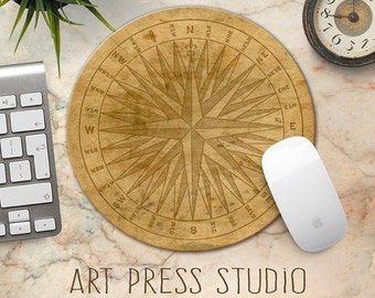 Compass Mouse Pad, Vintage Compass Print Mousepad, Steampunk Compass Mouse Pad, Old World Compass, Travel Mousepad