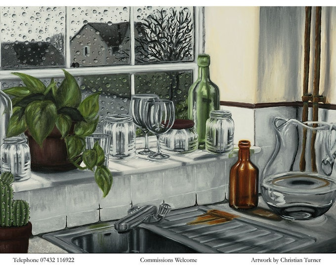 Kitchen Window - original oil painting on box canvas by Christian Turner