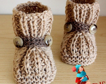 Knitting Pattern (PDF file)  Warm Feet Baby Booties (sizes 0-6/6-9/9-12 months)