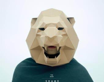 Lion Mask,Cat Mask,DIY 3Dmask,PDF,Polygon Paper Mask,Template,Printable,Animal,Pattern mask,Low Poly,Papercraft Mask,Gift,Costume,Party,Wild