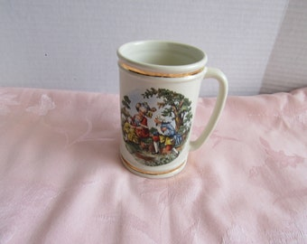 Rare  Hyalyn Pottery Cream with Gold Trim Tankard, Mug, Stein Courting Scene  Made in North Carolina  Made In USA Collectible 2886