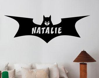 Batgirl Logo Wall Decal Custom Name Sticker Marvel Comics Superhero Vinyl Art Decorations for Home Bedroom Kids Girls Room Decor btg10