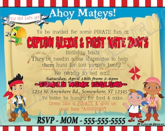 Jake invitation etsy custom kids birthday invitations printable invitations jake invitations jake and the neverland pirates filmwisefo