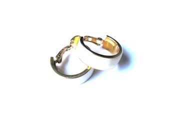 Cream Gold Trim Wide Hoop Clip On Earrings