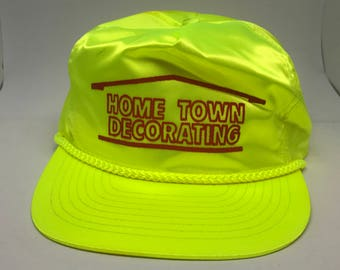 VTG Neon and Flourescent Yellow roped snapback hat Home Town Decorating