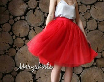 Tulle skirt with matching lining, fixed waistband with hidden zipper (color - Red)